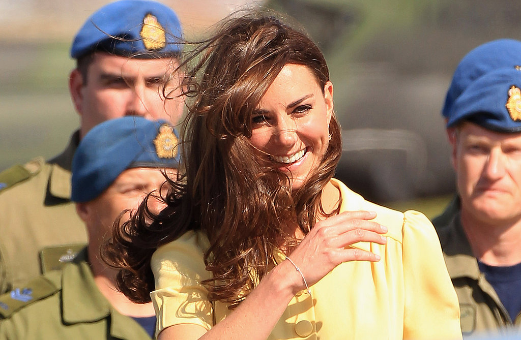 The wind swept up Kate Middleton's famous locks.