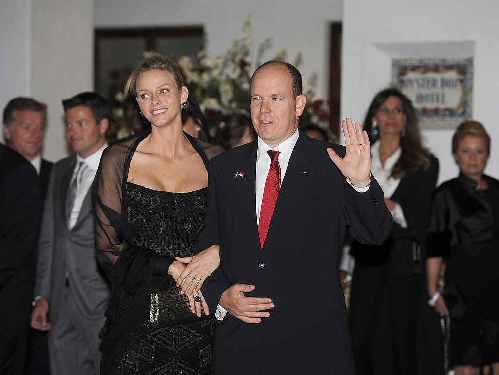 Prince Albert waved to the crowd with his wife, Princess Charlene, by his side.