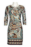 Chetta B 3/4 Sleeve Jersey Sheath Dress in Green and Brown Print