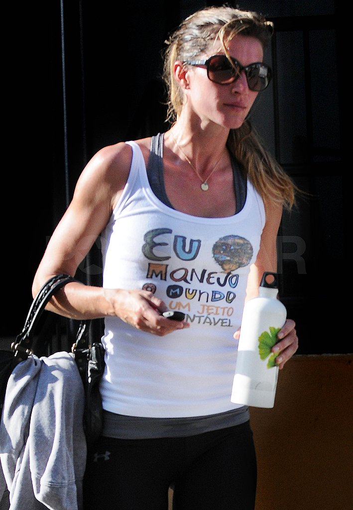 Gisele Bundchen kept hydrated with water.