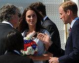 Prince William and Kate Middleton were greeted with red, white, and blue flowers.