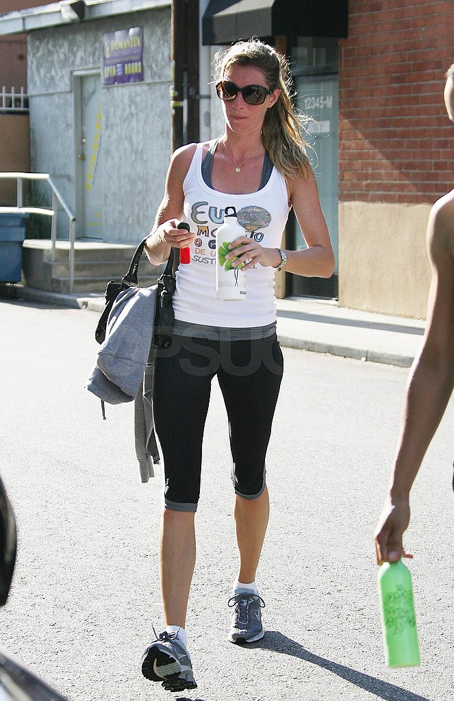 Gisele Bundchen wore a white graphic tank.