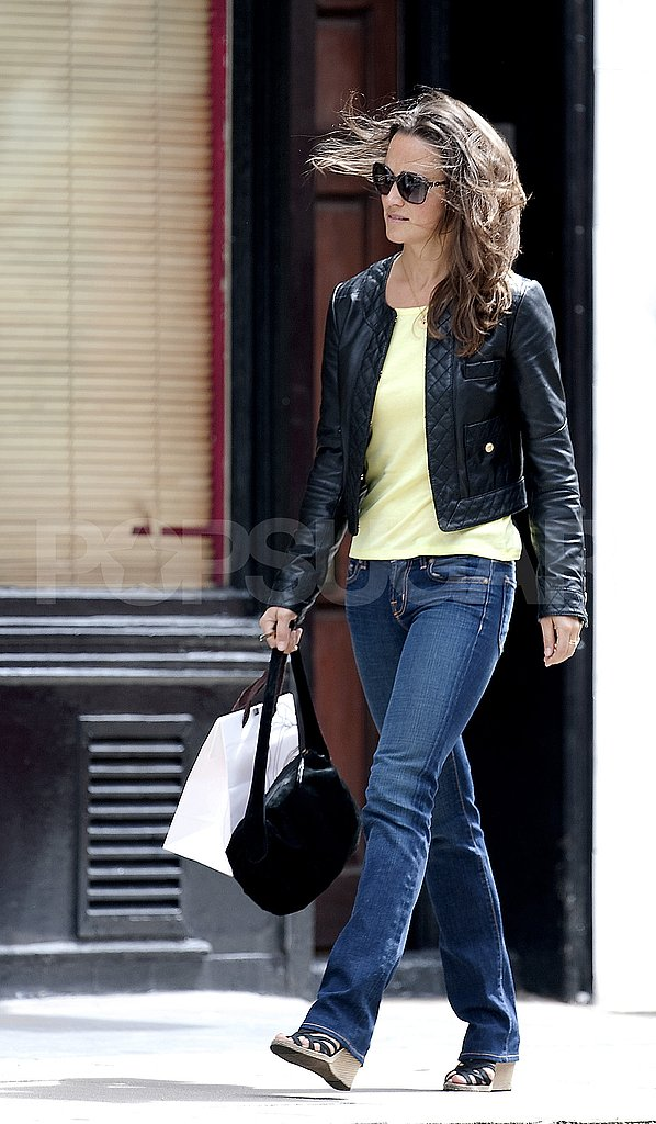 Pippa wore comfortable wedges for her day shopping.