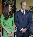 Kate Middleon, wearing a gorgeous green Diane Von Furstenberg, can't keep her eyes of William.
