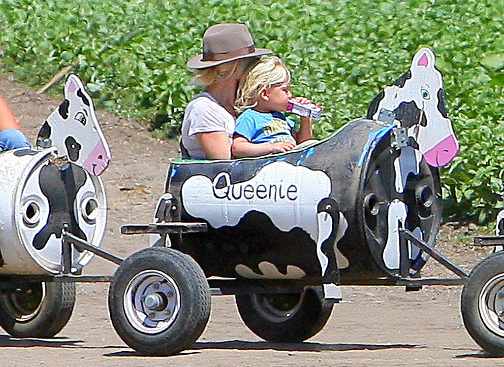 Gwen Stefani on a cow ride with Zuma.