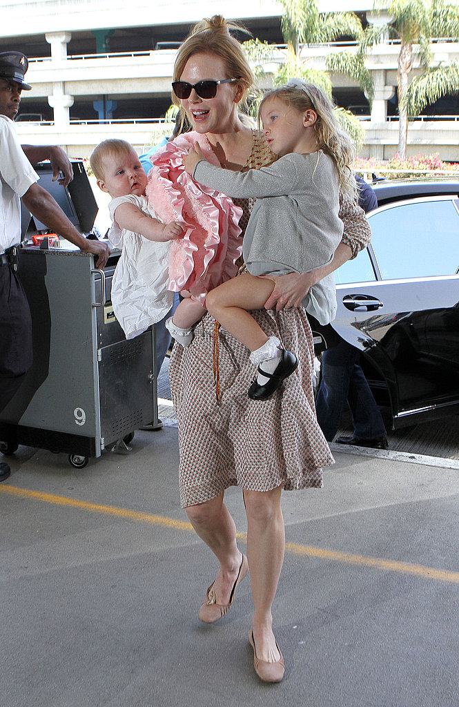 Nicole Kidman Wraps Up Her Royal Meeting to Catch a Flight With Sunday and Faith