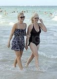 Julianne Hough with her mom Marianne walking in the Atlantic.