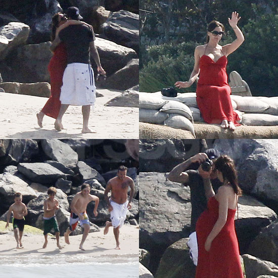 Victoria Beckham Hits the Beach With Shirtless David and Her Boys Just Days Before Giving Birth