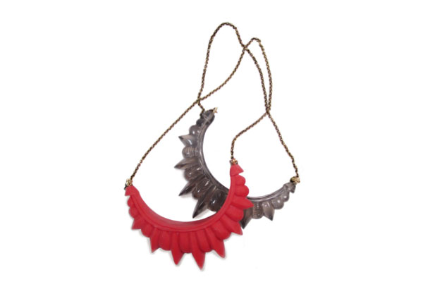 Large Resin Tribal Spike Necklace in Red Matte and Smoke Resin