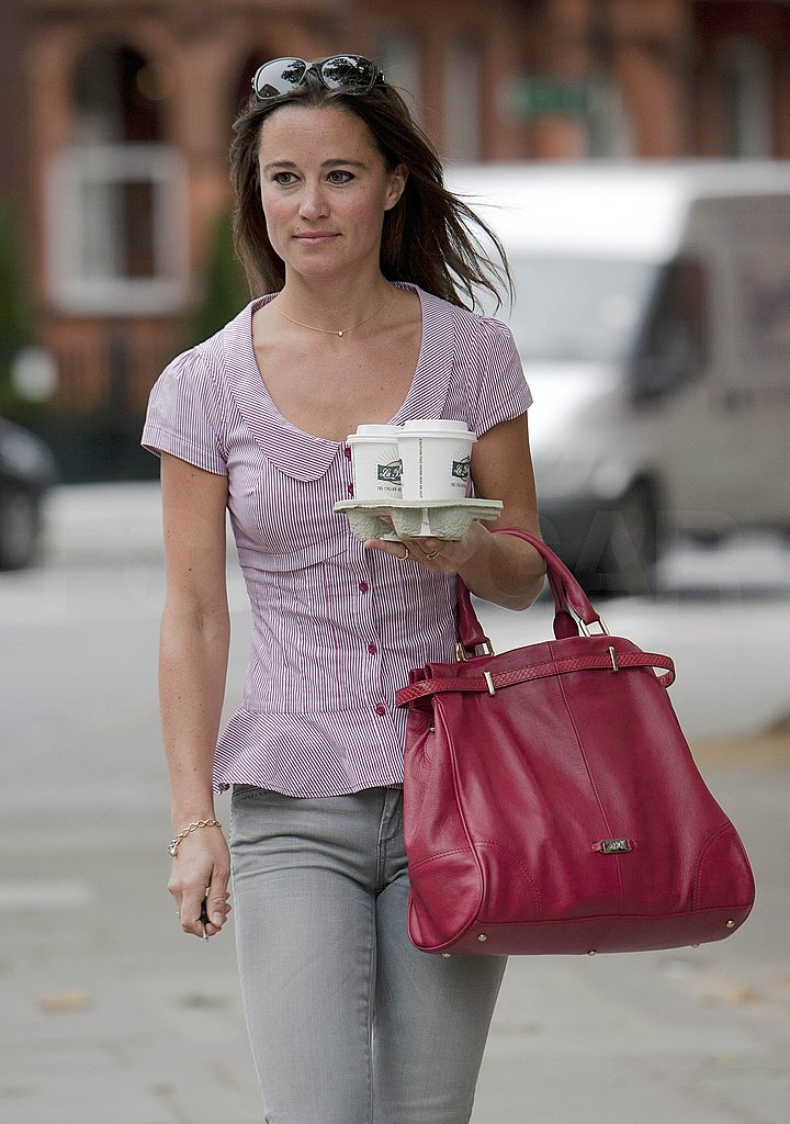 Pippa Middleton with a leather bag.