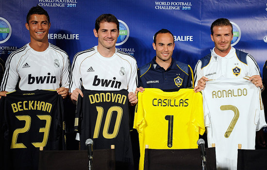 Cristiano Ronaldo, Iker Casillas, Landon Donovan, and David Beckham held up their jerseys.