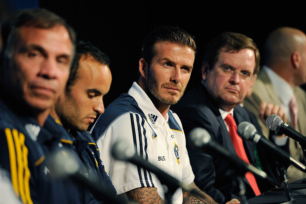 Teammates Landon Donovan and David Beckham sat side-by-side.