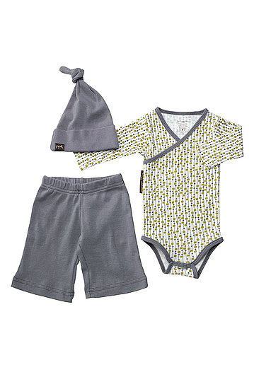 "Petunia Pickle Bottom ""Social"" Hat, Bodysuit & Pants Set"