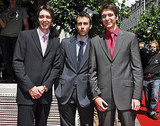 Matt Lewis is sandwiched between twins James and Oliver Phelps at the Belgium red carpet for Harry Potter and the Order of the Phoenix.