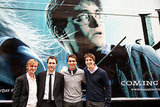 Matthew Lewis hangs with some of the boys of Harry Potter, Tom Felton, James Phelps, and Oliver Phelps, while promoting Harry Potter and the Half-Blood Prince.
