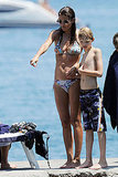 Helena Christensen in a bikini with son Mingus Reedus.