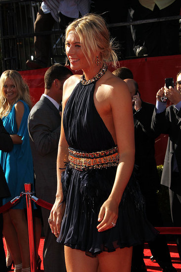 Maria Sharapova wore a halter dress.