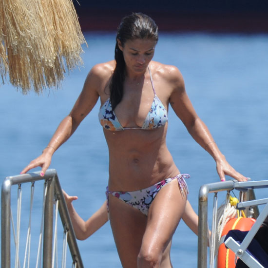 Helena Christensen goes for a swim.