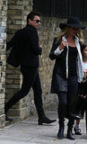 Kate Moss leaving her home with husband Jamie Hince and daughter Lila Grace Hack.