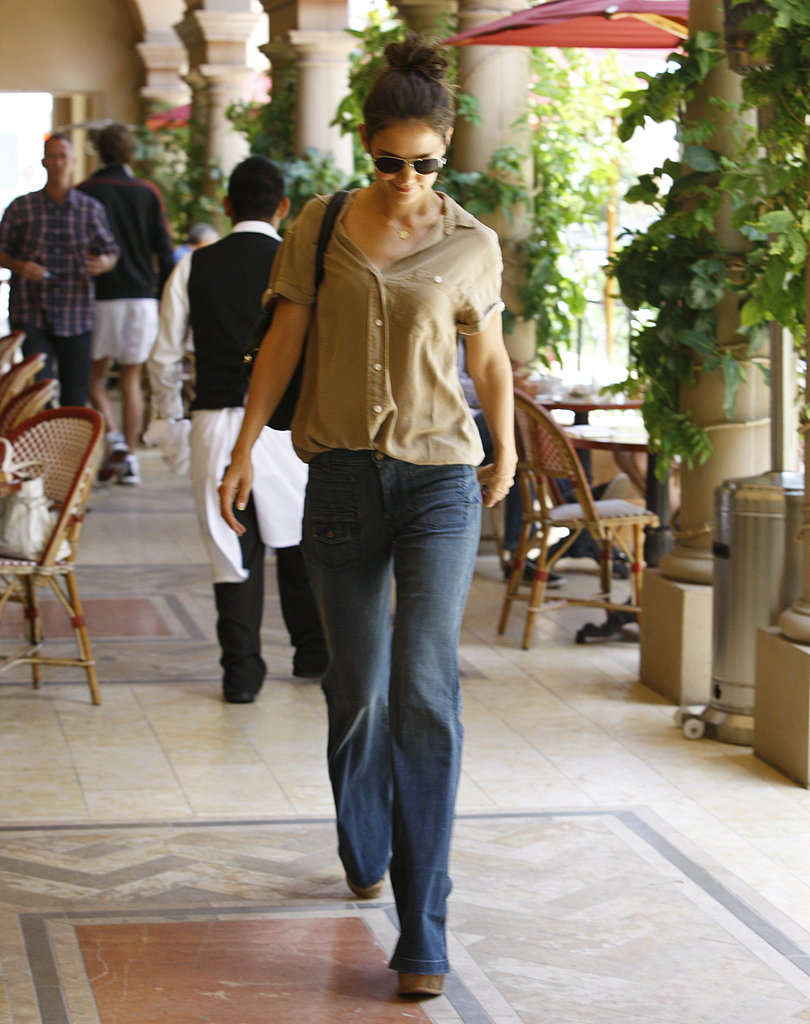 Katie Holmes going to lunch at Bouchon Bistro.