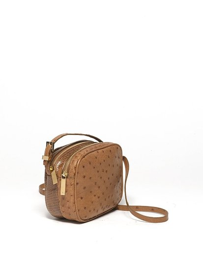 Twin Mini Double Zip Messenger in Tan Ostrich