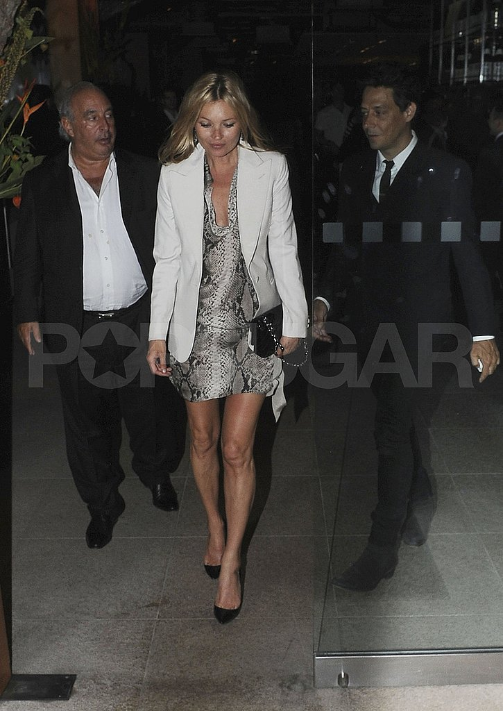 Kate Moss and husband Jamie Hince leave Zuma with Philip Green.