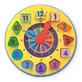 Melissa & Doug Wooden Shape Sorting Clock ($11)