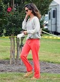 Rachel Bilson arrived on the LA set wearing red sweats.