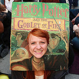 Possibly the most creative award would go to this fan at the LA opening night of Harry Potter and the Deathly Hallows Part 2, who put her head where Harry's would be on this huge book cover of Harry Potter and the Goblet of Fire.