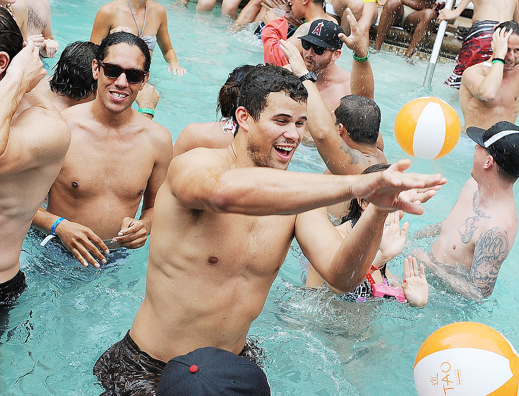 Kris Humphries cooled off in the pool at Tao Beach.