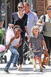 Angelina Jolie, Shiloh Jolie-Pitt, and Zahara Jolie-Pitt buying costumes in LA.