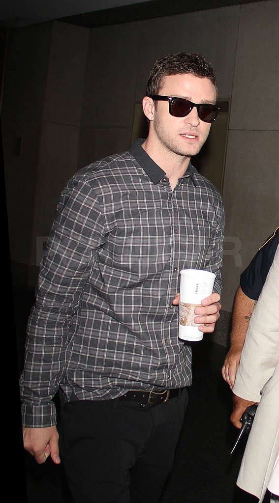 Justin Timberlake had some coffee in hand.