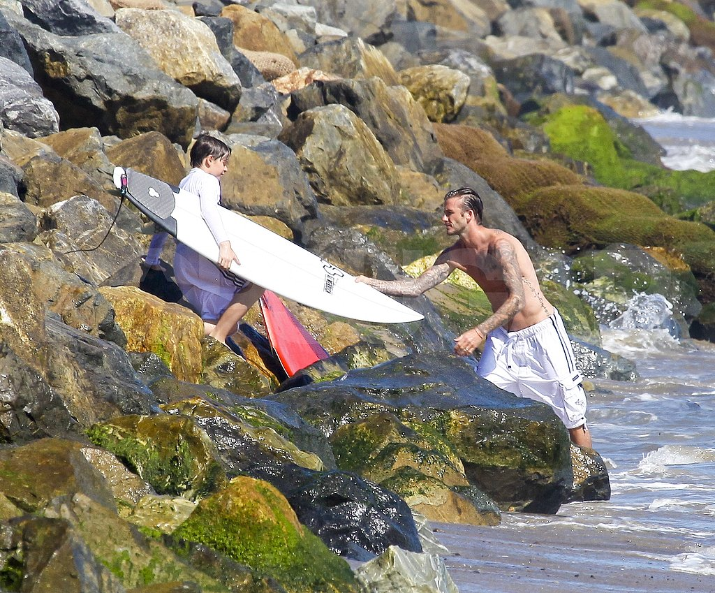 David Beckham goes to surf.