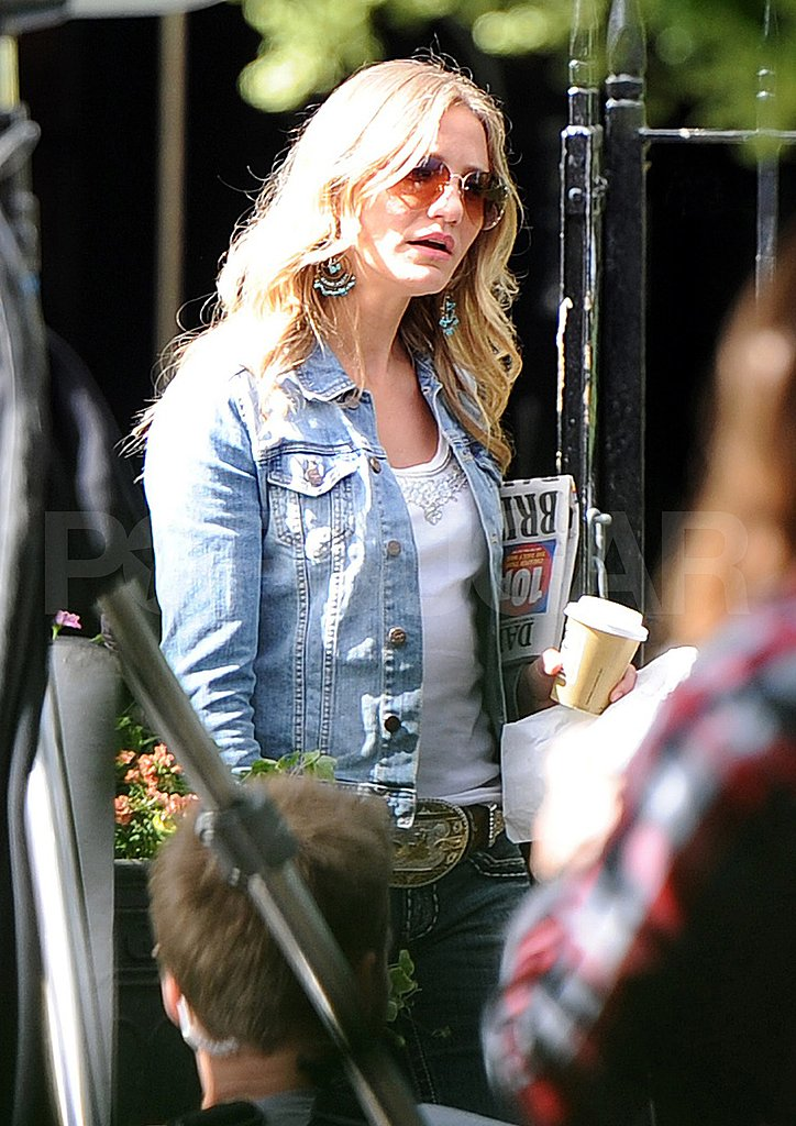 Cameron Diaz in a jean jacket.