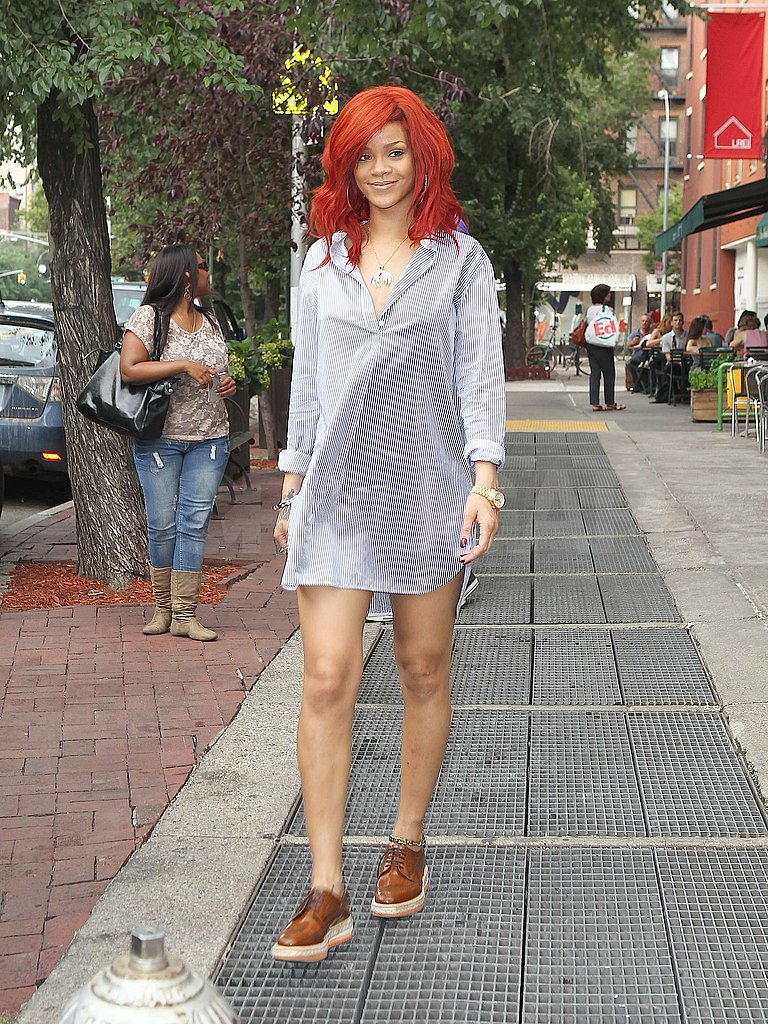 Rihanna paired her bright-red hair with a short dress.