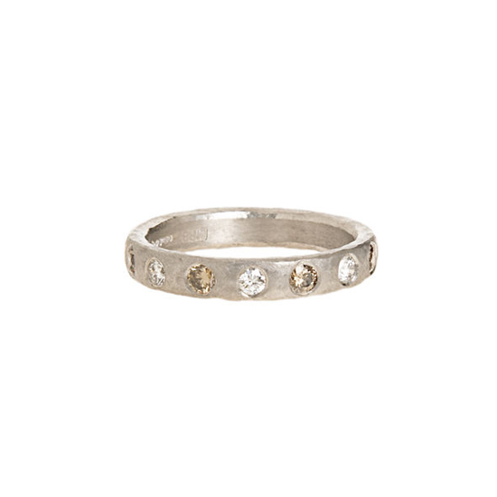 Malcolm Betts Hammered Platinum and Diamond Ring, $4,200