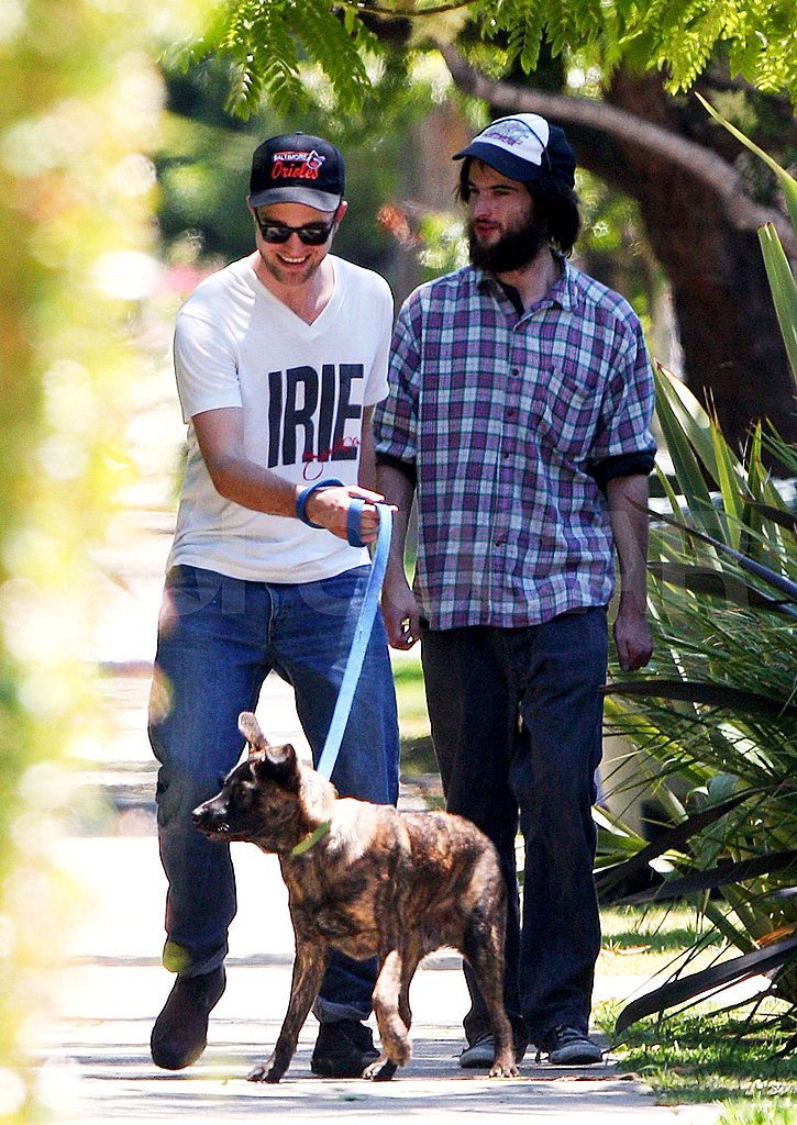 Robert Pattinson with his dog bear.