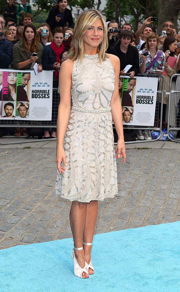 Jennifer Aniston in white at the London Horrible Bosses premiere.