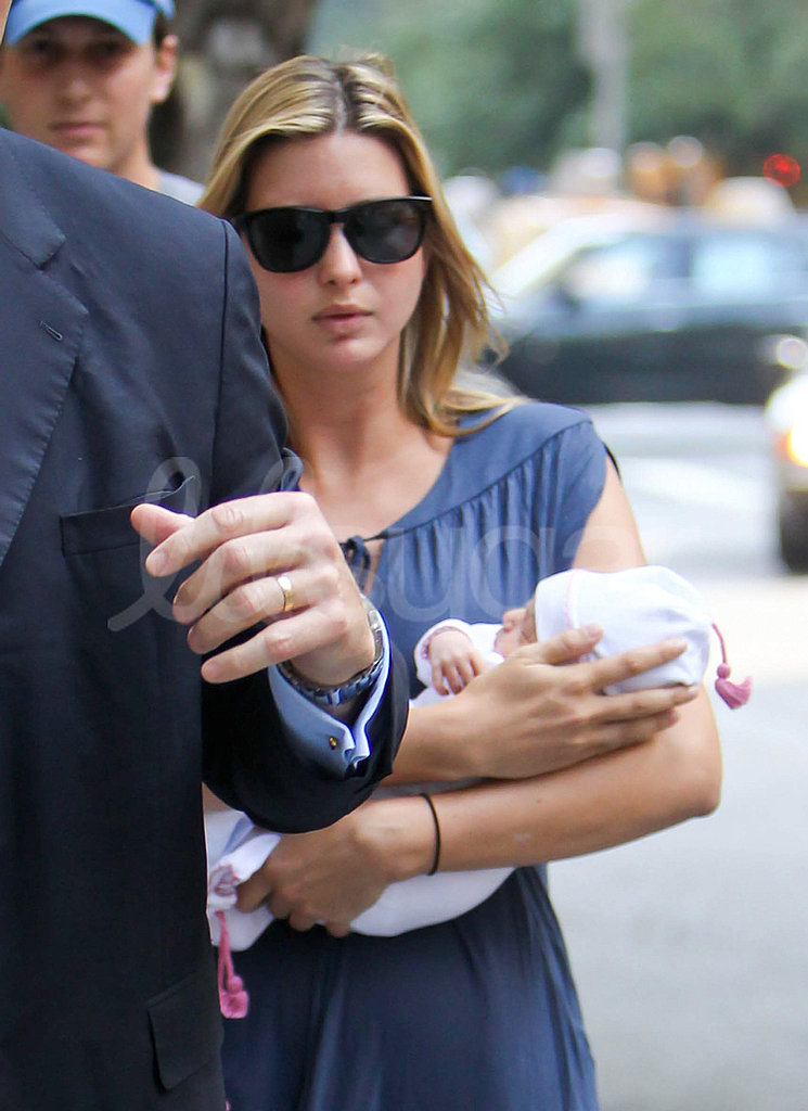 Ivanka Trump cradles her new baby, Arabella, in her arms.