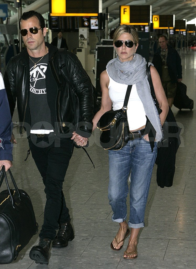 Jennifer Aniston and Justin Theroux leave London.