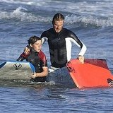 David Beckham Has a Proud Dad Moment Teaching Brooklyn to Boogie Board