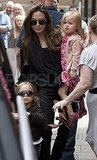 Angelina Jolie leaves movies with Knox and Vivienne.