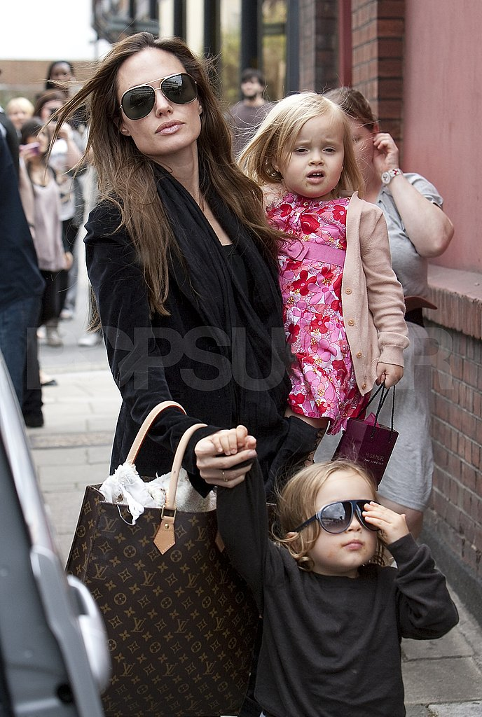 Angelina Jolie in London with Knox and Vivienne.