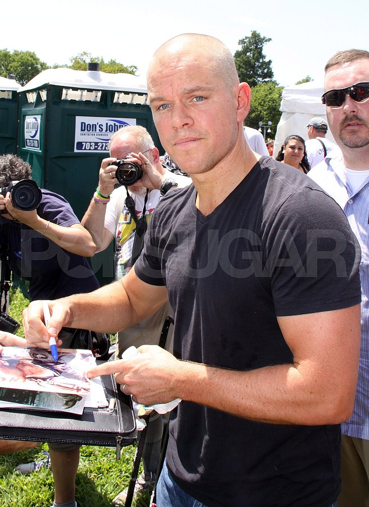 Matt Damon with a shaved head.