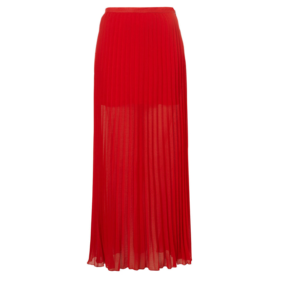 Topshop Bright Red Pleated Maxi Skirt, $90