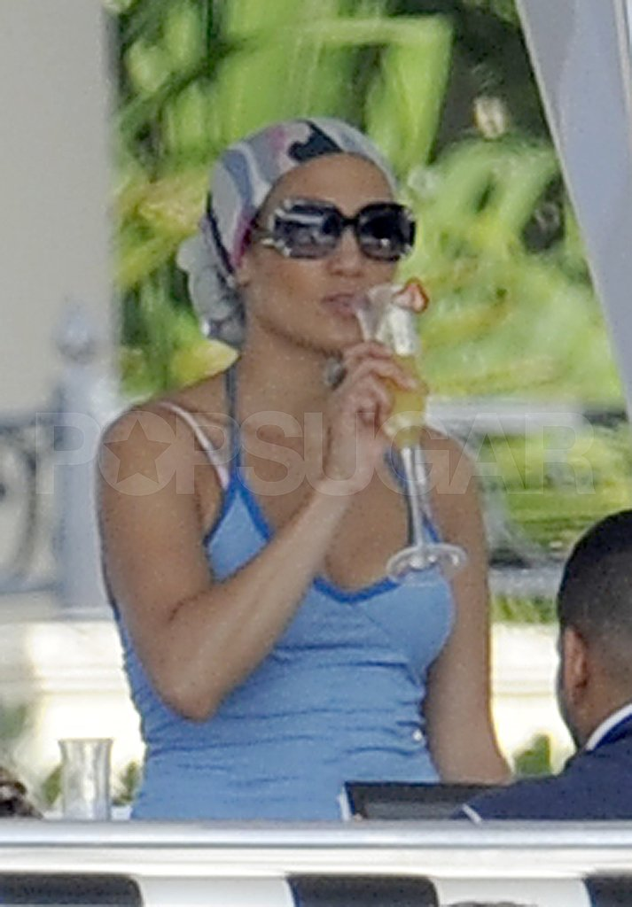 Jennifer Lopez has a birthday cocktail.