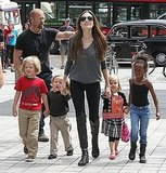 Angelina Jolie, Shiloh Jolie-Pitt, Zahara Jolie-Pitt, Vivienne Jolie-Pitt, and Knox Jolie-Pitt visit the London aquarium.