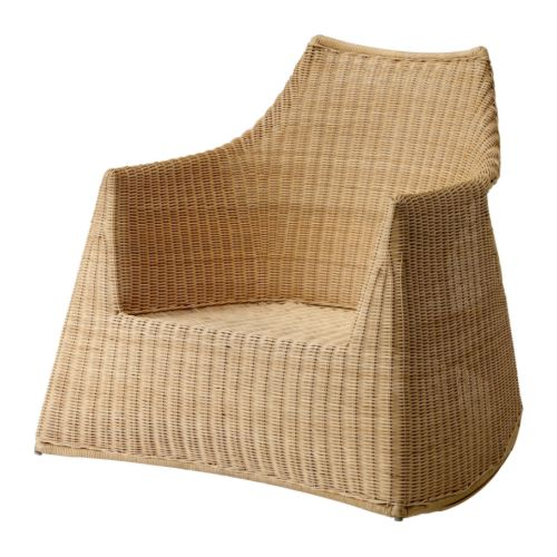 Wicker furniture is a staple in beach houses, but the traditional shapes are staid. Give your home a leg up with a modern rattan chair like the Ikea Hejka Rocking Chair ($139).