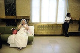 Jeanette Coleman from New York checks her email as she awaits to be officially married to her wife, Kawane Harris.