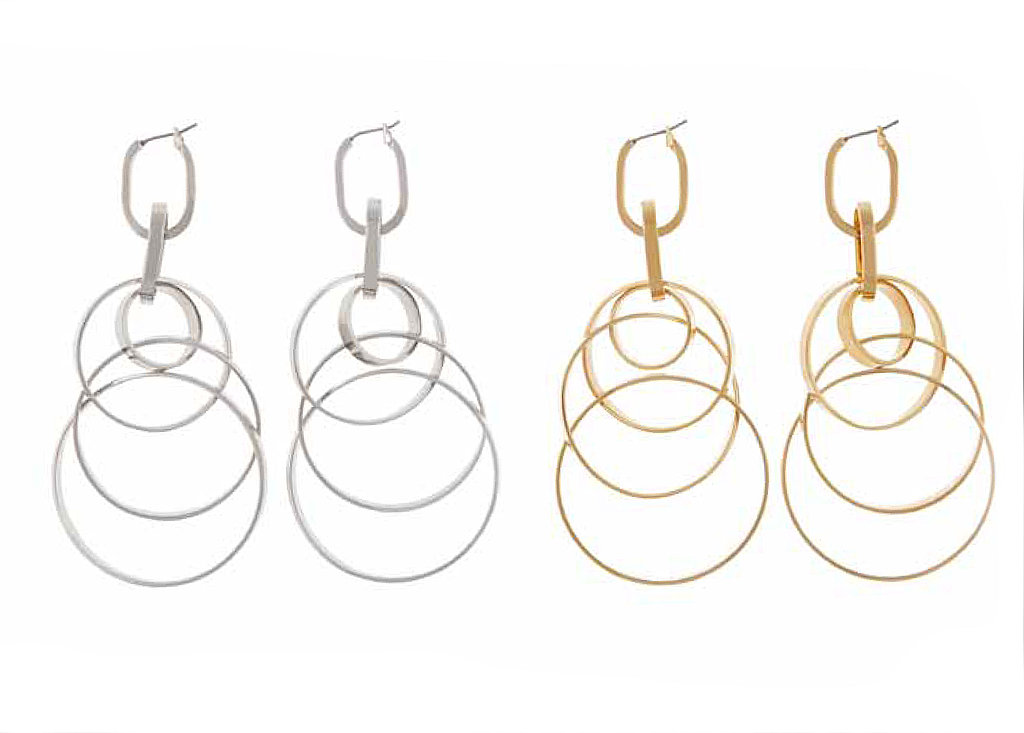 Silvertone or Goldtone Orbital Chandelier Earrings, $115 per pair